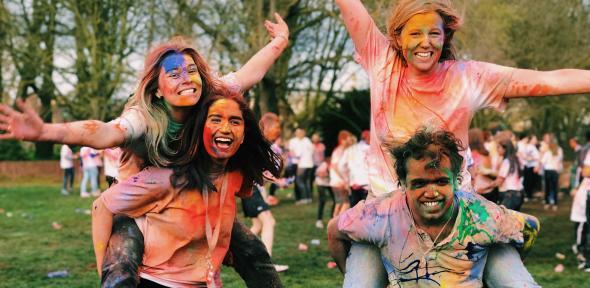 Students celebrating Holi